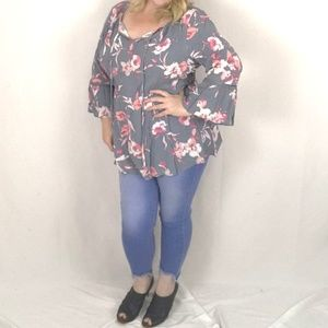 NEW Lane Bryant floral empire waist peasant top